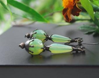 SALE***Eye catching light mint opal czech glass earrings with black matte findings, srajd