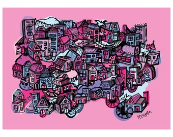 Tiny Town Pinks Illustrated Print