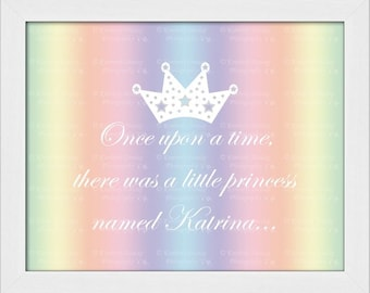 PERSONALIZED Princess Artwork {Custom Rainbow Ombré Art, Once Upon A Time Canvas Picture, Baby Newborn Infant Girl Nursery Room Decor Print}