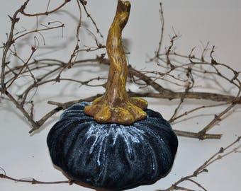 VELVET PUMPKIN - dark blue velvet pumpkin - velvet Pumpkins -Plush Pumpkins - Silk velvet pumpkins - Halloween decor - Thanksgiving Decor
