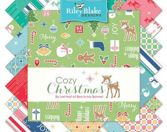 "FABRIC Charm Pack 5"" squares COZY CHRISTMAS 42 squares"