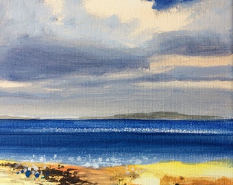 Blue Ocean - Original Landscape Painting of Sky Clouds Sea 8x8 Water Skyscape