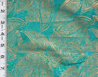 Montego Bay Gold Overprint Turquoise Textile Creations Fabric