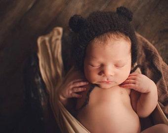 Newborn bear - Baby bear - Baby boy hat - Newborn hat - Photo Prop - Knitted bear hat - Photo prop hat - Bear hat - Brown - Baby boy