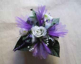 Purple and white wedding centrepiece