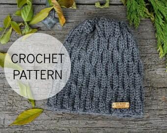 Crochet PATTERN - Pine Tree Beanie - Crochet Beanie Pattern - Crochet Hat Pattern - US and UK terms - My Rose Valley