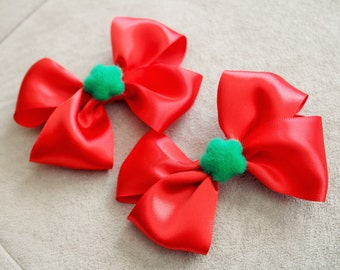 Pair of Christmas Red Hair Bow Clips