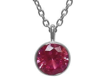 "Pink Sapphire Sterling Silver Pendant with 18"" Cable Chain Gemstone Birthstone Pendant Necklace September Birthstone Jewelry Under 20 Dollar"