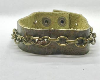 Leather and Chain Cuff