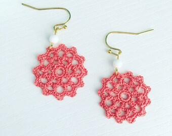 Belmont Crochet Earrings in Coral, Lightweight Dangle Earrings, Lace Doily Earrings, Beach Jewelry, Bridesmaid Gift, Gift Under 30, Mom Gift