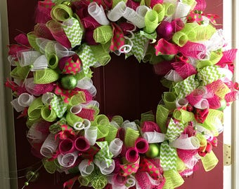 "Christmas Wreath Hot Pink and Lime Green 36"" Front Door-PERFECT!"
