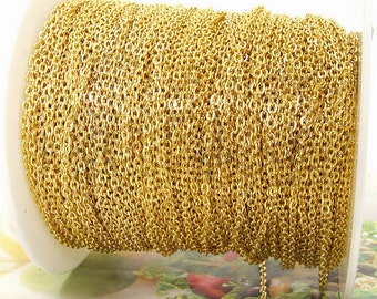 "Long 5Chains  egg Loop Yellow Chain on Copper Metal   Chain 2mmx3mm--- 5x 38"" ---5m"