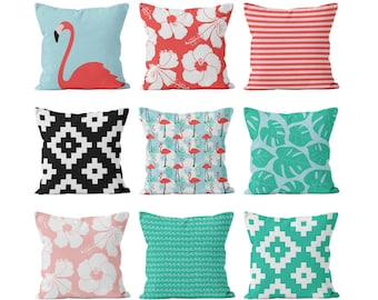 Tropical Beach Pillow Cover Set with Flamingos Hawaiian Flowers Palm Leaves Stripes Waves in Coral Pink Turquoise Aqua Blue