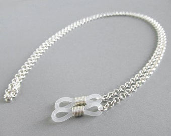 Silver Eyeglass Chain - Chain for Glasses - Sunglasses Chain - Mens Eyeglass Holders Necklaces - Reading Glasses Chain - Eye Glass Chain