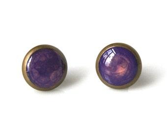 Purple Stud Earrings - Lilac Stud Earrings - Purple Resin Stud Earring - Stud Earring Handmade - Purple paint Earrings - Colorsite