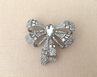 Art Deco Bow Brooch.Crystal Bow Brooch.VINTAGE STYLE.Rhinestone Bow Brooch.Bridal Brooch Pin.wedding.Bow broach.Silver Bow Brooch.bow pin