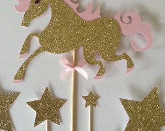 Unicorn Cake Topper, Gold Glitter Unicorn & Star Cake Toppers, Fantasy Birthday Party Cake Toppers, Assortment Pack