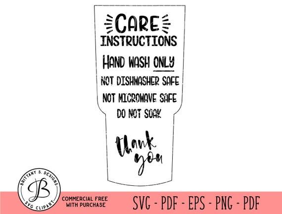 Tumbler Care Instructions Care Card Svg Care Card Cut File