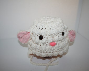 Lamb earflap winter hat baby 0-6 months, antique white and pink