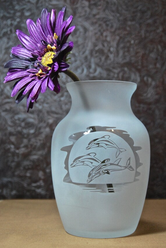 Dolphin Vase Glass Etched Vase Etched Glass Gifts Custom