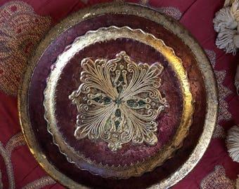 Italian Florentine Round Jewelry tray