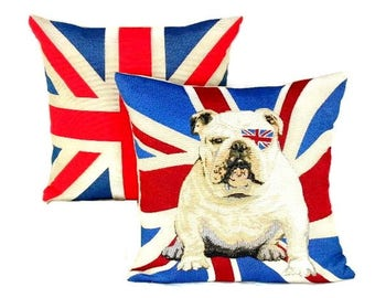 Set Of Two Union Jack Bulldog Pillow Covers British Flag Throw Pillow  Covers Rustic Cushion Covers