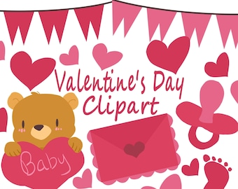 Valentines Pregnancy Announcement Clipart, Valentine's Day Clipart, for personal and commercial use, scrapbooking, planner stickers