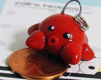 Sly Red Octopus Polymer Clay Phone Charm // Handmade Cell Phone Charm // Handmade Gift