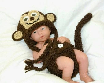 Baby Boy Monkey Outfit Curious George Newborn Crochet Monkey Outfit newborn boy photo outfit crochet baby outfit crochet baby boy photo prop