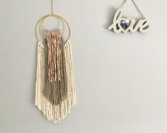 Layered Macrame Wall hanging Handmade on 3 Gold Rings