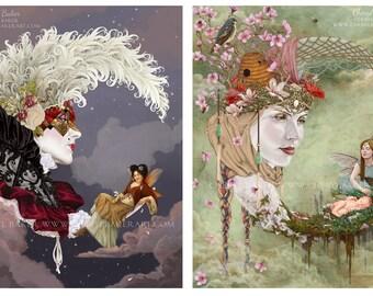 SALE - Fairy Art - Set of 2 Illustrations - Woodland Fairy Art - Whimsical Fairy Art - Fairy Crescent Moon - Fairy Decor - Fairy Nursery Art