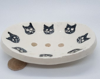 Fun white handbuilt pottery soap dish, with black cat faces, Spoon rest, Trinket Dish