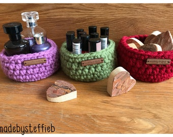 Storage Mini Hygge Make up basket, home decor, crochet basket, chunky crochet bag, Storage basket, Crochet bowl, Handmade Crochet basket
