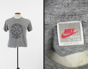 Vintage 80s Nike Tri Blend T-shirt Heather Grey Red Label Field Hockey - Medium / Large