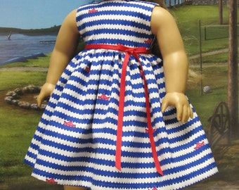 Nautical Dress for American Girl Doll