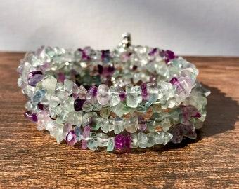 Girl's wrap bracelet, gemstone bracelet, quartz bracelet, purple and green wrap bracelet, spring bracelet, summer bracelet, boho bracelet,