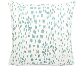 Brunschwig Fils Les Touches,  Aqua and White Pillow Cover, Square Eurosham or Lumbar Size, Leopard Print, Modern Polka Dot Cushion Cover