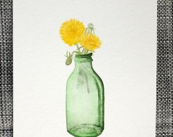 Dandelion in Green Jar