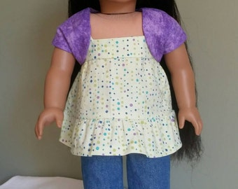 "1960s and 1970s inspired blue jeans with ruffled tunic and bolero. 3-piece set for American Girl and other 18"" dolls."
