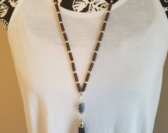 Brown and silver tassel necklace