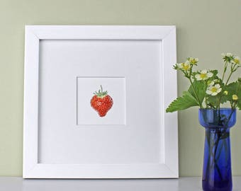 Kitchen art-Strawberry Illustration-Botanical watercolour print-art for dining room-framed berry print-gift for foodie-art for child room