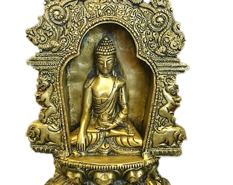 Indian Vintage Meditating Buddha Temple Sculpture Yali Lion Arch Frame Brass Statue Yoga Studio Conscious Decor