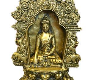 Indian Vintage Meditating Buddha Temple Sculpture Yali Lion Arch Frame Brass Statue Yoga Studio Conscious Decor