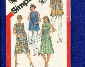 1980's Simplicity 6040 Retro Zipper Front House Dress & Smock Pattern Size 10..12..14