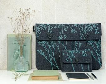 Vegan Sleeves Set, Laptop Bag, Hard-Drive Bag, Notebook + Charger Case Set, Printed Covers in Dark Grey, Mint Floral Print, ecofriendly