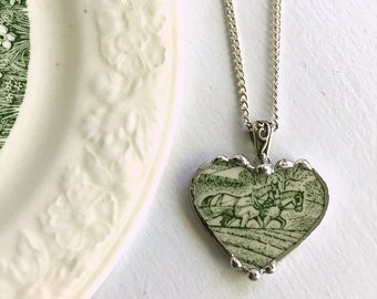 Broken china jewelry, heart pendant, pendant necklace, green, field horses, farm scene plow, vintage china, Dishfunctional Designs