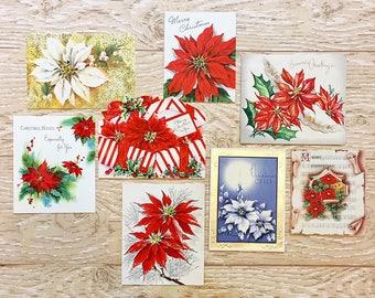8 Vintage Poinsettia Christmas Cards, Midcentury Poinsettia Cards, 1940s-1960s Christmas Poinsettia Set #2