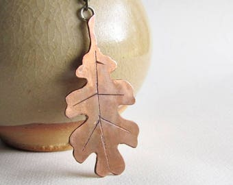 Copper Oak Leaf Necklace - Mixed Metals Jewelry - Autumn Leaf Necklace - Fall Fashion Jewelry