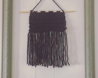 Black yarn crochet home decor mini wall hanging
