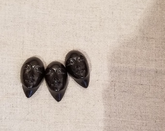 Trio of Hand Carved Jet African Women